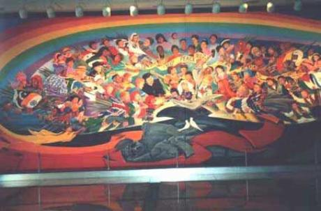 Interprets the denver airport murals for Denver international airport mural